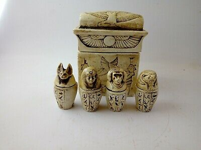 ANCIENT EGYPTIAN ANTIQUE Canopic Jars In Box Statue Replica