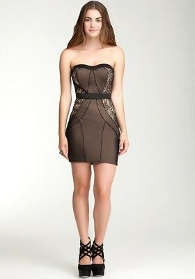 NWT Bebe Black Nude Strapless Lace Dress sz L NEW $149
