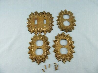 Vintage Ornate Edmar Brass Double Light Switch Cover & 3 Outlet Covers # 32  32D