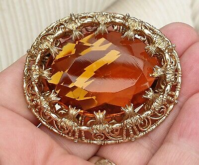 Statement Vintage Art Deco Jewellery Large Crystal Amber Agate Gold Brooch Pin
