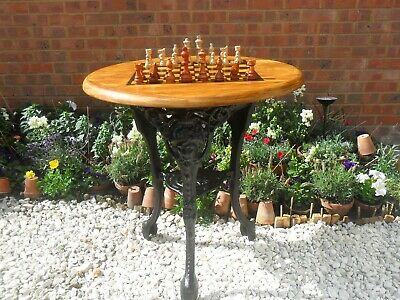 Cast Iron Table &  Chess Set