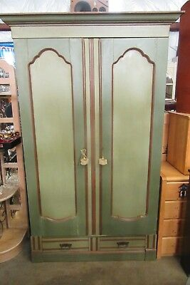 Impressive Antique Painted Armoire from New Orleans, early 1900s.