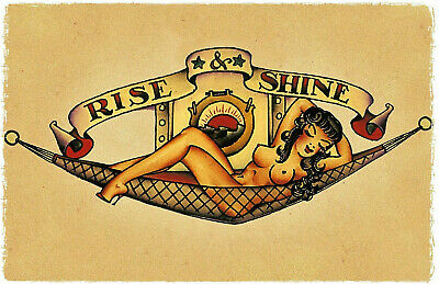 Sexy RISE AND SHINE girl vintage Sailor Jerry Inspired Pin Up Tattoo Poster
