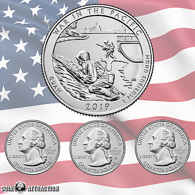 2019 PDS War In The Pacific - Guam Quarter Set (3 Coins)