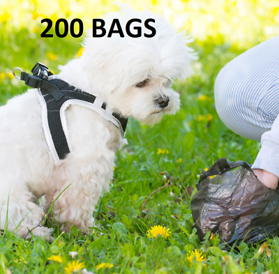 200 X Doggy Poo Bags  Dogs Dog Puppy Waste Poop Disposal Easy Tie Handle