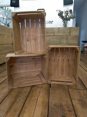 Wooden Apple Crates Fruit Boxes Vintage Home Decor Storage Cleaned