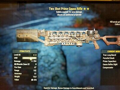 FALLOUT 76 (PC) 2🌟🌟 Two Shot Explosive Gauss Rifle - $35 00 | PicClick