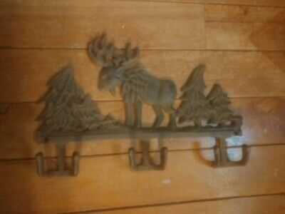 Cast Iron MOOSE Towel Hanger Coat Hooks Hat Hook, Key Rack Hunting Camp DEER