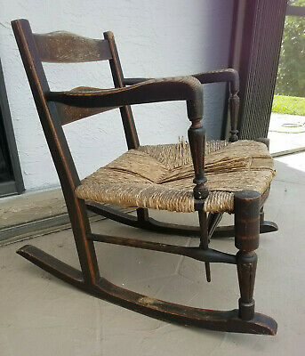 Rare MORRIS SUSSEX style Arts & Crafts Rush Seat Rocker Carved ROCKING CHAIR