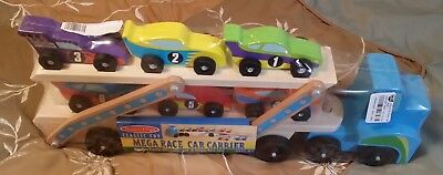 Melissa Doug Mega Race Car Carrier Wooden Tractor And