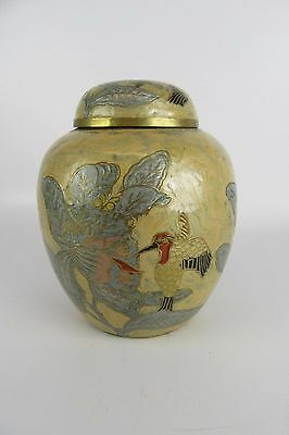 Enameled Hummingbird Solid Brass Canister Urn