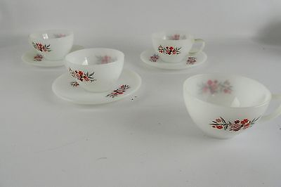 """Vintage Fire King Anchor Hocking """"Primrose"""" Lot of 4 Coffee Cups & 3 Saucers"""
