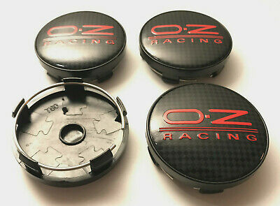 4 x OZ Sport 60mm Wheel Centre Caps Red Carbon Fibre Center Caps Base ( Black )