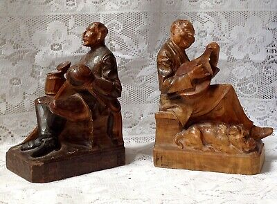 Antique Hand Carved Pair Of Olive Wood Folk Art Treen Musician Bookends
