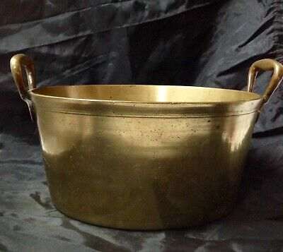 Antique Solid Heavy Brass Preserve / Jam Pan, Two Handles, Good Secure Riveted.