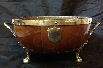 Antique Art Deco Coopered Wood With Silver Plated Mounts & Handles Fruit Bowl