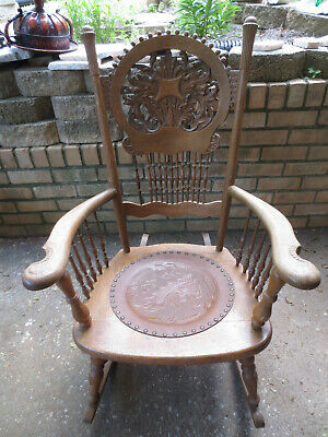 Antique Quartersawn Oak Carved Rocker Rocking Chair Brown Leather Embossed Seat