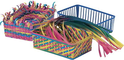 Roylco Plastic Weaving Basket with 150 Weaving Strips, 6 1/2 x 4-1/2 x 2-1/4 in,