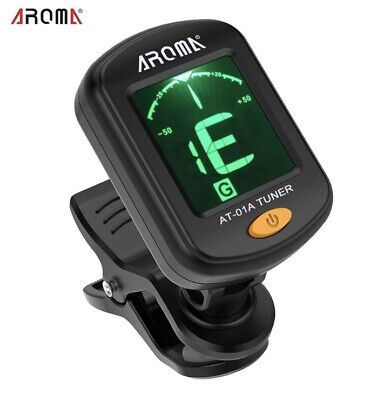AROMA AT-01A Rotatable Clip-on Tuner LCD Display for Chromatic Guitar