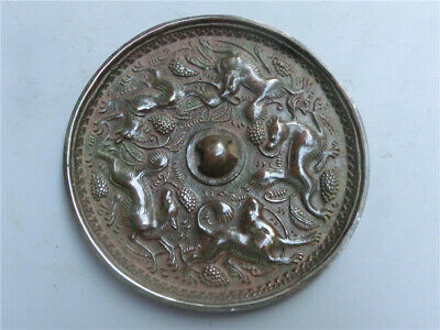 old chinese bronze carved God beast statues art mirror
