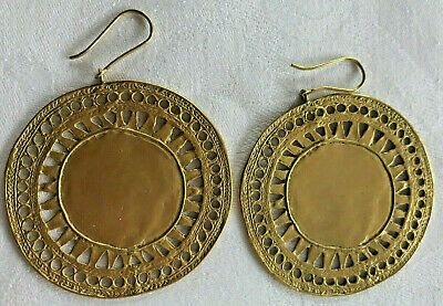 Galeria LA Cano 24k gold plated disk earrings preColumbian VINTAGE reproduction