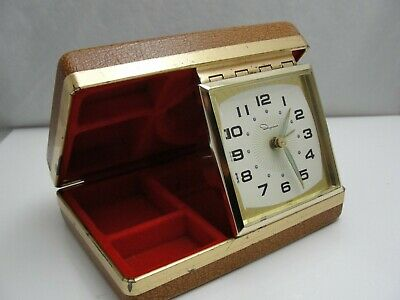 Antique Ingraham travel alarm clock accessory case vintage Japan