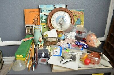 Junk Drawer Lot Vtg Brass Horse Books Fishing Clock Cards Ornaments Record Tags