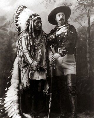 "Sitting Bull Sioux Indian with Buffalo Bill c1885 Old West 8""x 10"" Photo 83"