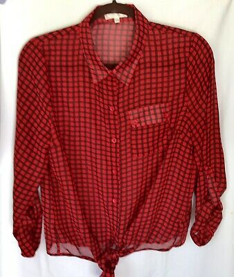 Timing Womens Black /Red  Plaid Sheer Button Down Shirt Tie Top Blouse Size XL