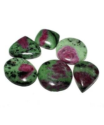 NATURAL RUBY ZOISITE 295Cts MIX SHAPE CABOCHON UNTREATED GEMSTONE WHOLESALE LOT