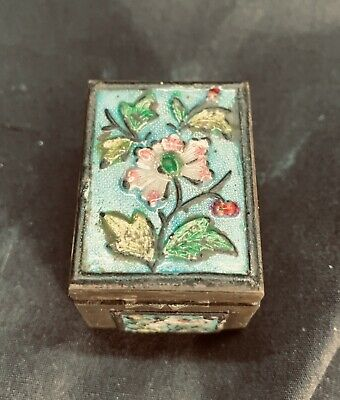 Small Vintage Chinese Enameled Brass Pill Box