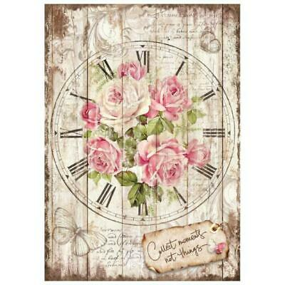 Rice Paper - Decoupage - Stamperia - 1 x A4 Size Sheet - Vintage Rose Clock