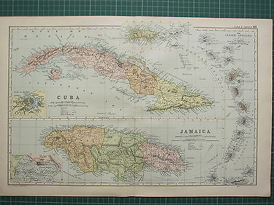1900 Large Victorian Map Cuba Havanna Environs Jamaica Kingston Lesser Antilles