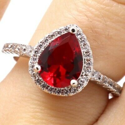 4 Ct Pear Red Ruby Ring Women Wedding Engagement Jewelry Gift Box Sizable