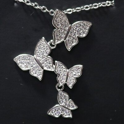 Vintage AAA CZ Butterfly Pendant Necklace 18K White Gold Plated Nickel Free 18""