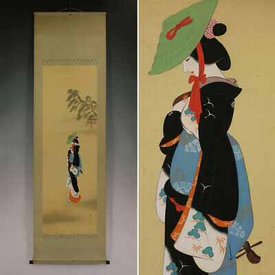 JAPANESE PAINTING HANGING SCROLL JAPAN BEAUTY WOMAN LADY VINTAGE PICTURE 304n