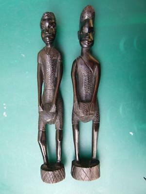 Vintage Pair African Ebony  Wood Carved  Man Playing  Native Drum  Art  Statues