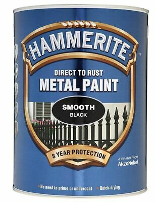 Hammerite  Metal Paint Smooth Black 5 Litres Genuine Product - New