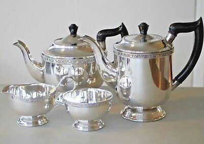 Vintage Viners of Sheffield 'Alpha Plate' silver plated tea & coffee set