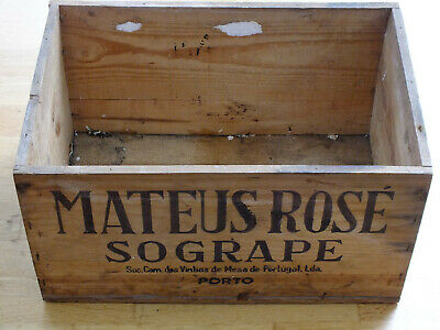 Vintage wooden wine crate Mateus Rose rustic Portuguese Sogrape window box