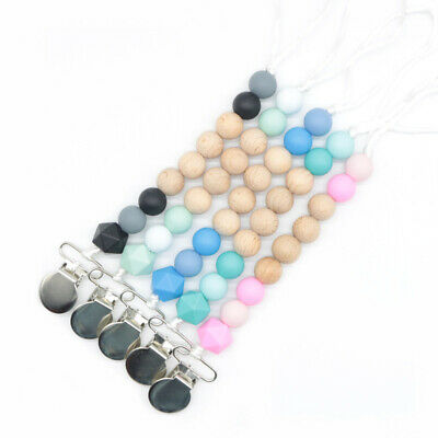 Teething Toy Wood Beads Baby Chewable Silicone Teether Dummy Clip Pacifier Chain