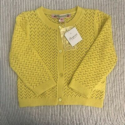 Beautiful Bnwt Bonpoint Cardigan In Lemon. Rrp £85. Size 12 Months