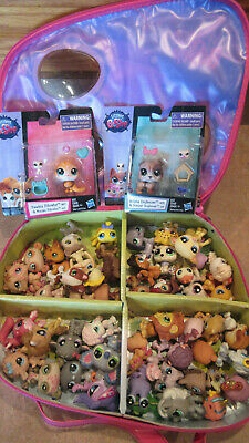 Littlest Pet Shop Mixed Lot Of 54 Dogs Cats Horses Lion Bunny W/ Case + 2 New