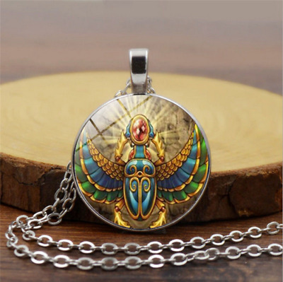 Ancient Egyptian scarab time gemstone pendant necklace glass jewelry accessories