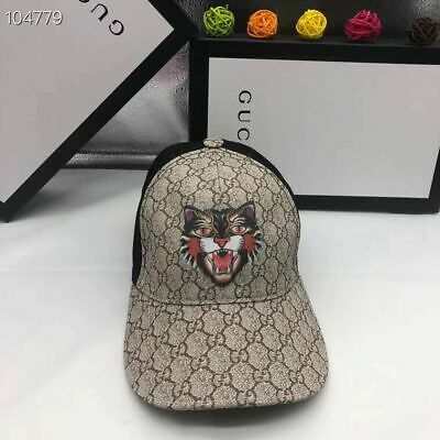 5fe1ee31 AUTHENTIC GUCCI GG Supreme Canvas Tigers Print Baseball Cap Hat 61 ...