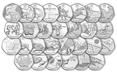 2012 Olympic 50p Fifty Pence coins 2011 Royal Mint Circulated set collection