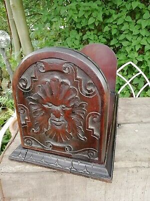 Antique Victorian Mahogany Sliding Book Shelf Carved Green Man Extending C 1880