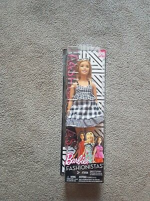 Barbie Fashionistas Doll Black and White Gingham Curvy Brown Hair NUMBER 96