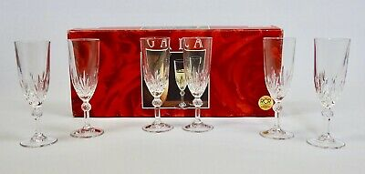 Crystal Wine/Champagne Flute Glasses Royal Crystal Rock 24% Lead Set Of 6 In Box