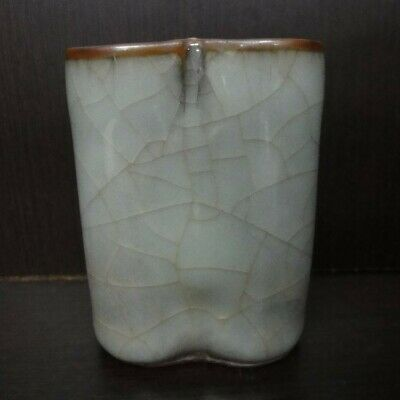"Perfect Condition! Rare Antique Chinese ""Guan"" Kiln Porcelain Brush Pot"